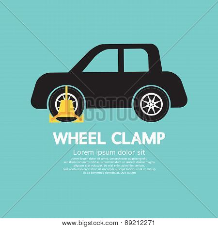 Wheel Clamp On Car Side View.