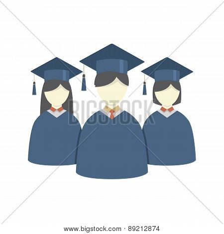 Group Of Students In Graduation Gown And Mortarboard.