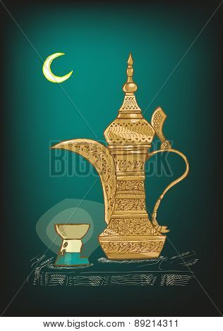 Arabic Dallah Coffee Pot Hand Sketch Style Vector
