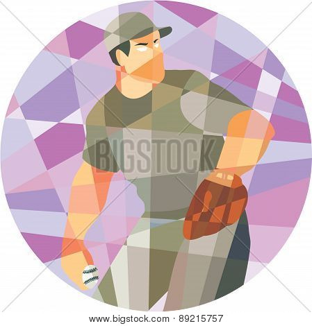 American Baseball Pitcher Throwing Ball Low Polygon