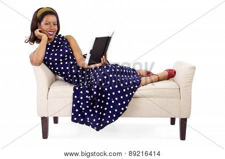 Vintage Girl Reading a Book