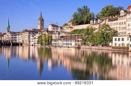 Zurich Switzerland - view on the Limmat river in a summerime morning. Long exposure time picture. poster
