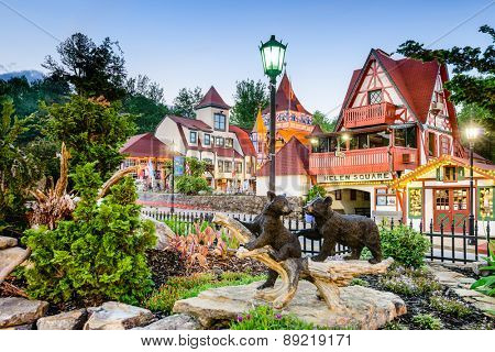 HELEN, GEORGIA - MAY 7, 2013: Helen Square in North Georgia. The architectural theme of the city is inspired by the Bavarian Alps.
