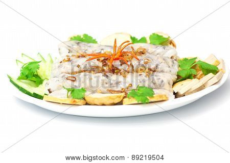 Banh cuon Vietnamese steamed rice rolls isolated on white