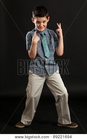 Young Boy Point To Self Making Peace Sign