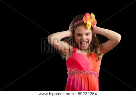 Frustrated Girl With Hands On Head