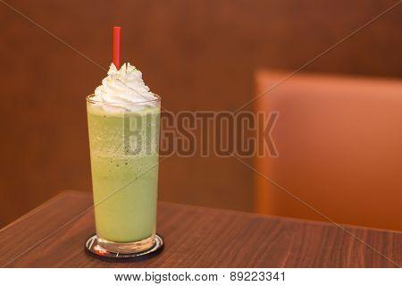 Green Tea Smooties Milk On Wooden Table