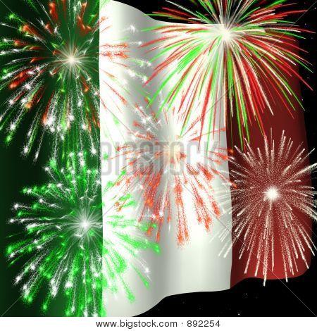 Fireworks Over Italian Flag 1