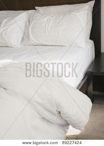 Bed Sheet Mattress and Pillows in Bedroom