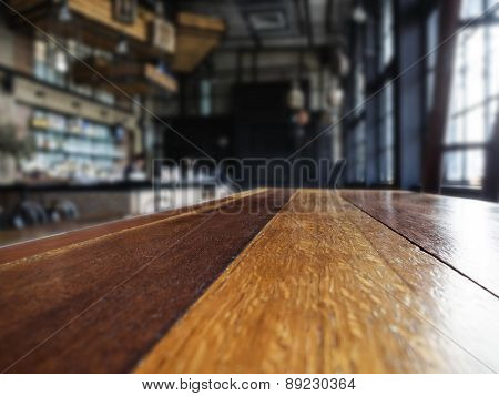 Table top with Cafe Restaurant Interior Blurred Background