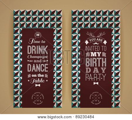 Happy birthday invitation vintage retro background with geometric pattern. Hipster style. Vector illustration. poster