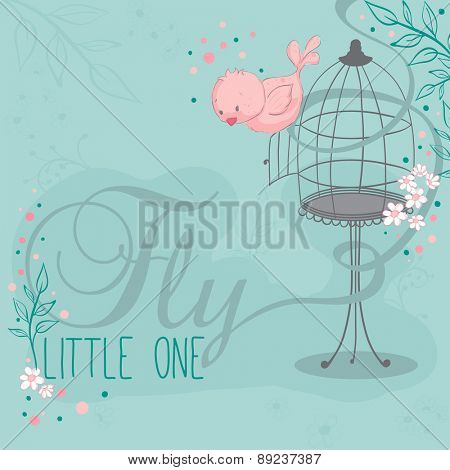Birdcage and pink bird - greeting card - Fly little one