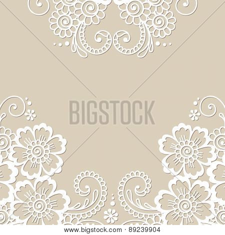 White flower frame, lace ornament