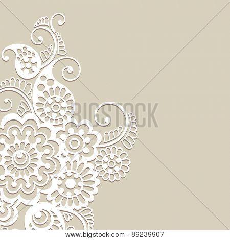 White flower design, lace ornament