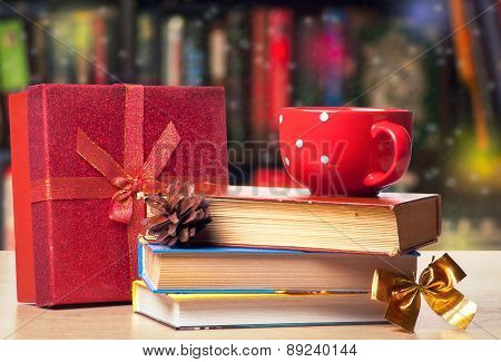 Christmas Bookshelf -background