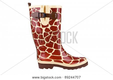 Gumboot with giraffe pattern isolated on white
