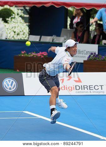 Kei Nishikori of Japan stretch backhand