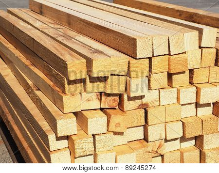 Pile of plantation grown dressed pine for industrial packaging