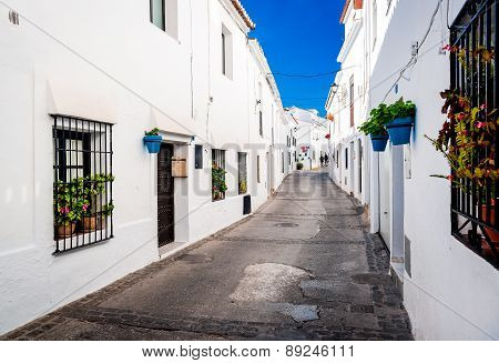 Picturesque street of Mijas. Charming white village in Andalusia Costa del Sol. Southern Spain poster