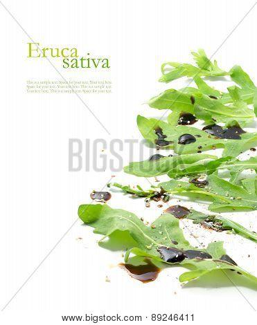 Fresh Green Rocket Salad Leaves, Eruca Sativa, Rucola Or Arugula Isolated On White