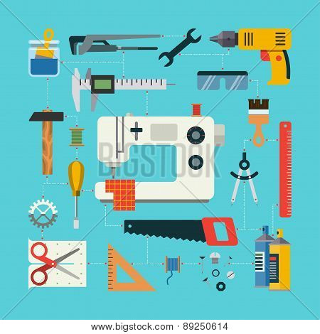 Handmade concept with icons of sewing, construction, repair, drafting items and tools. Flat design v