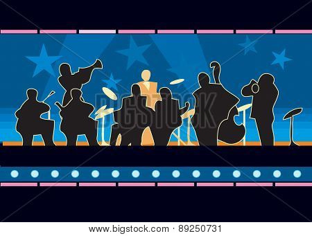 The orchestra plays jazz on the illuminated stage, illustration poster