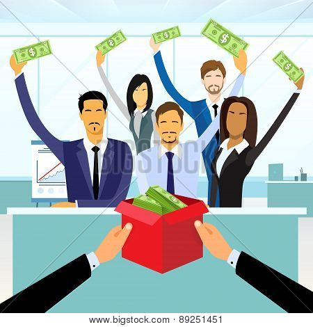 Business People Group Crowd Funding Put Money Donation in Box