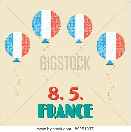 Simple, vintage card with flying balloons - french flag, celebrate 8 May - 8.5. - victory day in Fra