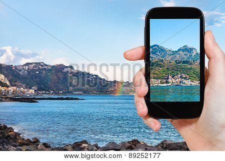 Picture Of Town Taormina And Giardini Naxos Beach