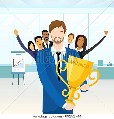 Business Man Get Prize Winner Cup, People Congratulating Colleague