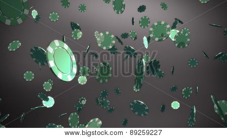 Green Casino Chips Black Background