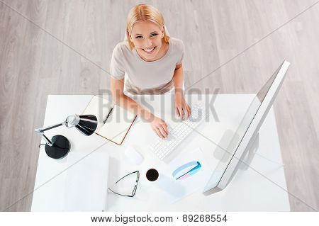 Businesswoman At Working Place.