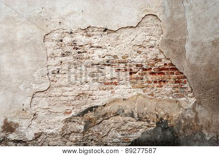 abandoned grunge cracked brick stucco wall