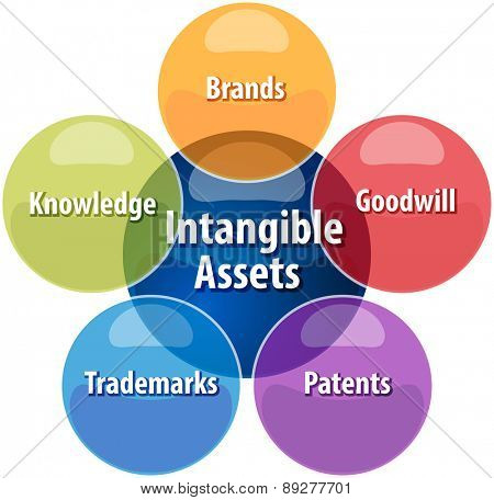business strategy concept infographic diagram illustration of intangible assets types vector