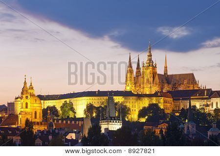 Prague - Hradcany Castle At Dusk