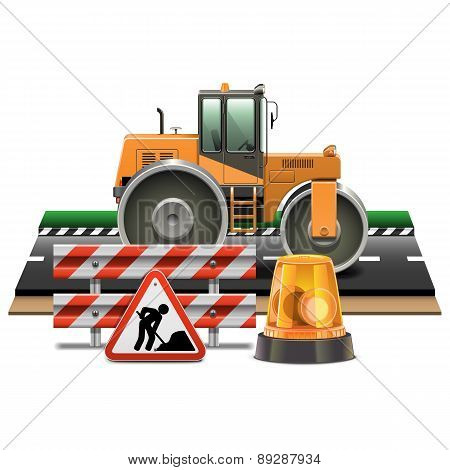 Vector Road Construction With Road Roller