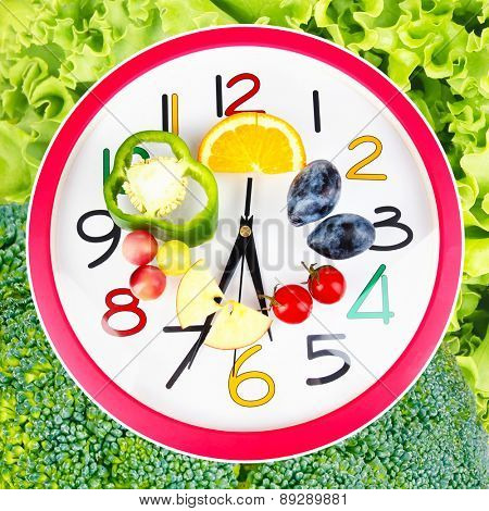 Food clock with vegetables and fruits as background. Healthy food concept