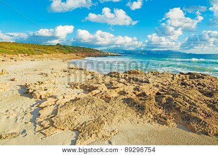 Yellow Rocks By Le Bombarde Shore