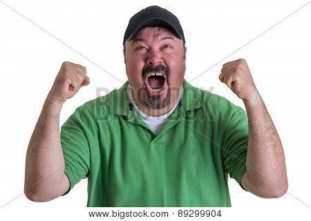 Excited Man Wearing Green Shirt Celebrating