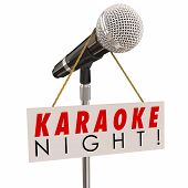 Karaoke Night words on a sign advertising a fun event or party of singing songs and entertainment poster