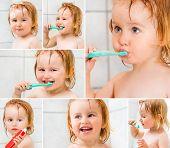 photo collage dental hygiene. Cute baby brushing teeth in bathroom poster