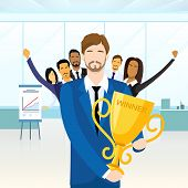 Business Man Get Prize Winner Cup, People Congratulating Colleague, Businesspeople Group Team Leader Success Flat Vector Illustration poster