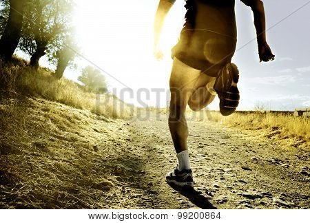 Legs And Feet Extreme Cross Country Man Running Training At Countryside Sunset