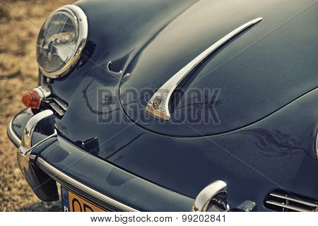 Sleza, Poland, August 15, 2015: Close Up On Porsche  Vintage Car And Logo On  Motorclassic Show On A