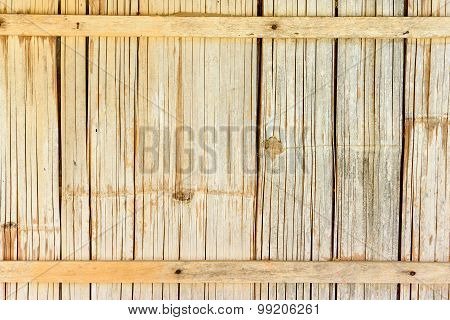 Native Style Bamboo Wall In A Rustic Wooden House Or A Cottage.