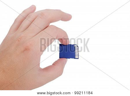 Flash Media Sd Card In Hand Isolated On White Background