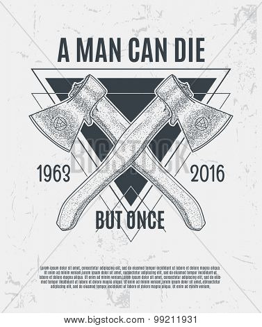 Two dot work axes with modern street style attributes. Grunge print template. Vector art.