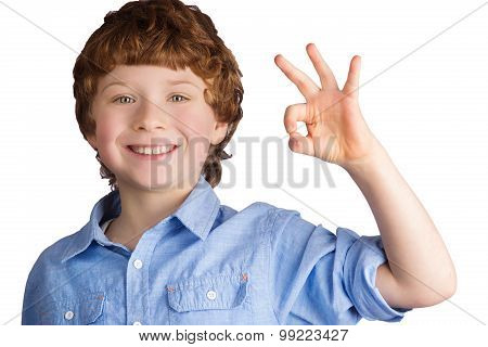 Handsome smiling boy showing OK sign with his hand. Isolated on white background