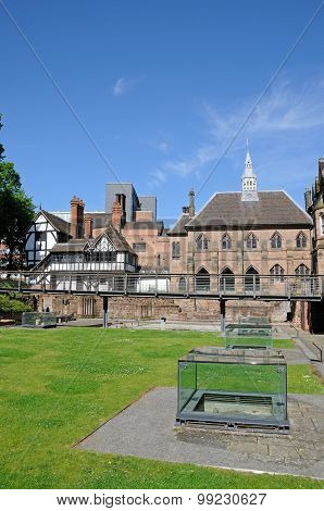 Buildings and Cathedral ruins in St Mary Priory Gardens Coventry West Midlands England UK Western Europe. poster