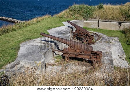 Rusty canons at Trekroner fort